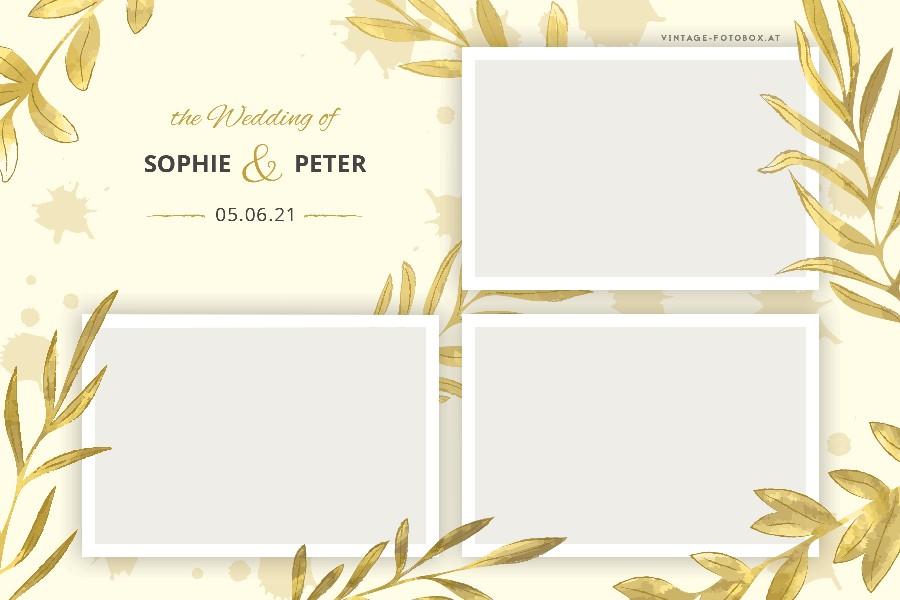 4 Wedding Leaf Gold Quer3 Vorlage - Layouts & Designs - Vintage Fotobox - Vintage Fotobox