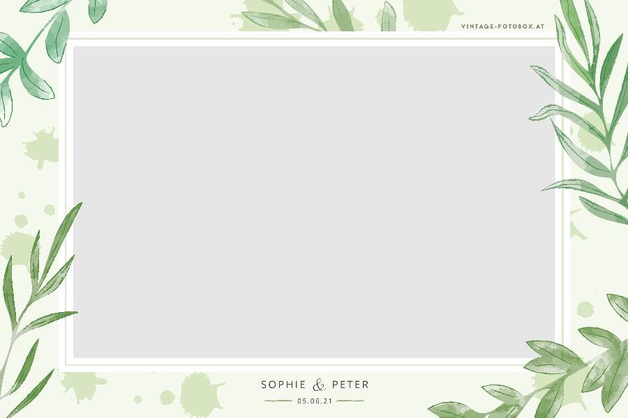 5 Wedding Leaf Green Quer Vorlage - Layouts & Designs - Vintage Fotobox - Vintage Fotobox