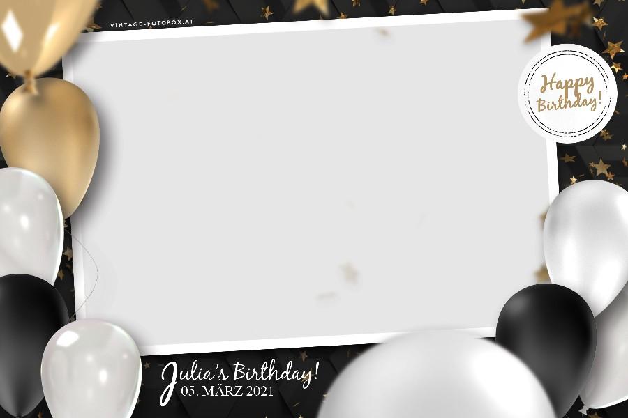 9 Birthday Ballons Quer Vorlage - Fotobox für Geburtstage & Privatfeiern mieten - Vintage Fotobox - Vintage Fotobox